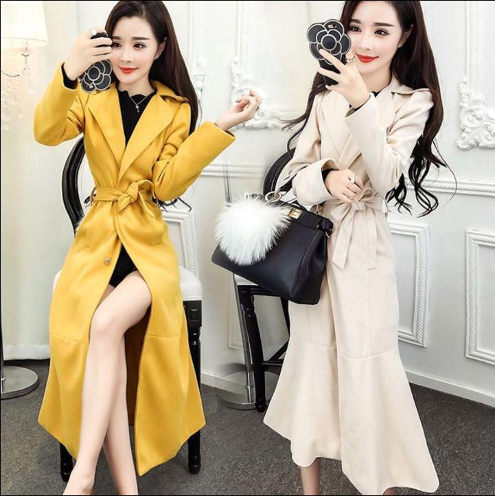 Womens Super Long Coats Slim Belt Trench Fishtail Outwear Jacket Maxi Warm M197