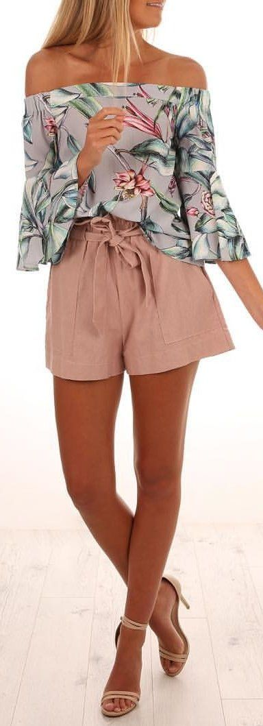 #winter #outfits gray and pink floral strapless shirt with brown shorts