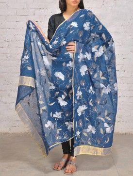 Blue-Gold Silk Kantha Dupatta
