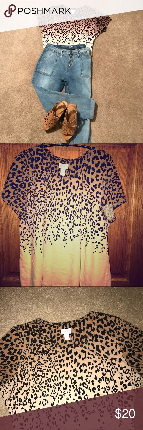 Chico's Zenergy animal print top-- Fabulous Chico's Zenergy top!!  Size 3, just doesn't fit me anymore.  Animal prints are the new neutral-- Wears like a dream. Chico's Tops Tees - Short Sleeve
