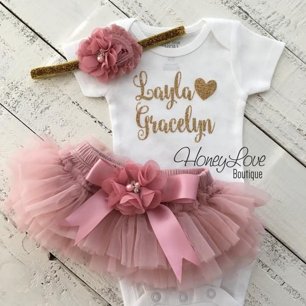 PERSONALIZED SET gold glitter shirt bodysuit, dusty rose vintage pink ruffle tutu skirt bloomers with flower embellishment on satin bow, gold glitter flower headband newborn infant toddler little baby girl take home coming home hospital outfit by HoneyLoveBoutique