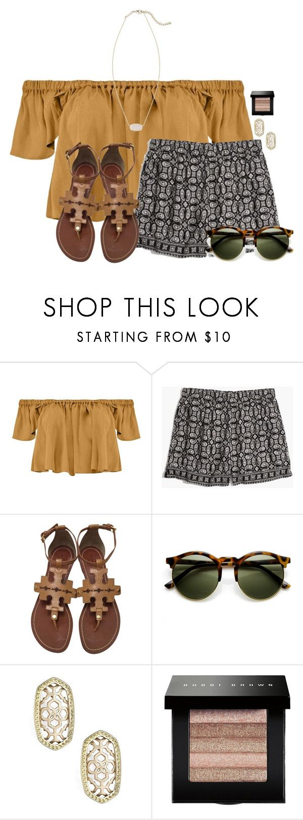 """~choose happy~"" by flroasburn ❤ liked on Polyvore featuring Boohoo, Madewell, Tory Burch, Kendra Scott and Bobbi Brown Cosmetics"