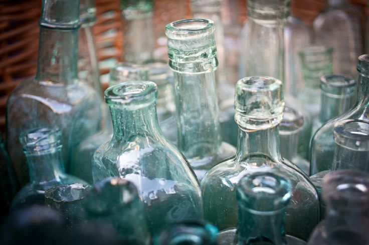 Some old glass bottles for sale outside a curiosity shop in Whitby. Photograph by Christopher Leedham