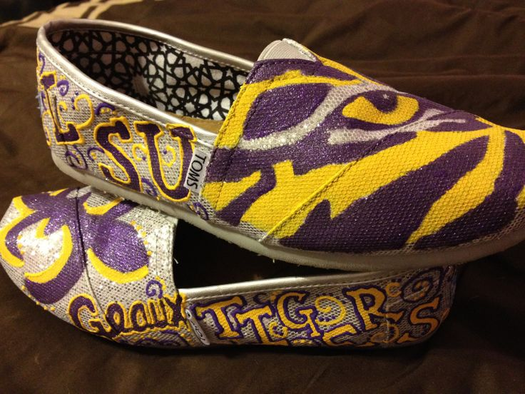 LSU Tailgating Shoes TOMS by SaturdaysInTheSouth on Etsy, $88.00