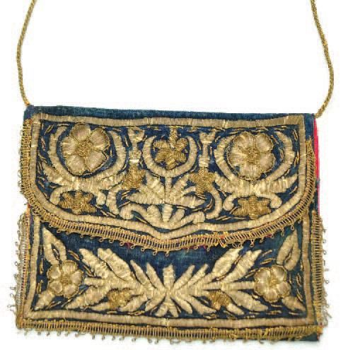LEATHER WORKING & EMBROIDERY ON LEATHER. Late-Ottoman goldwork embroidery on leather. Ca. 1900.