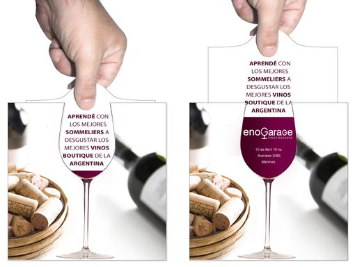 "great design for an invitation or direct marketing - as you pull out the inside paper, the wine glass ""fills"""