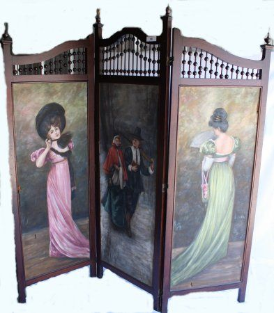 Beautiful Victorian Screen - Commonly used by the lady of the house to disrobe in the bedroom. Modesty was the utmost desired trait of any Victorian lady.