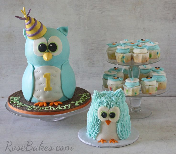 Standing Owl Cake, Smash Cake & Owl Cupcakes with lots of details, links for tutorial and supplies!