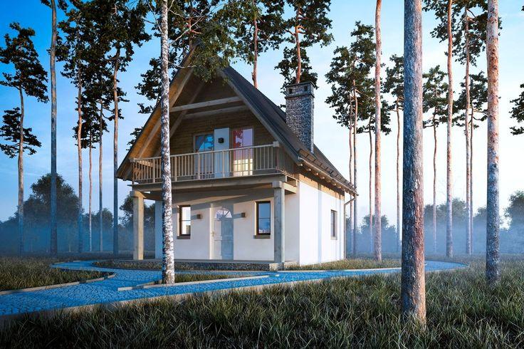 Projekt budynku letniskowego, parterowego, nie podpiwniczonego z poddaszem użytkowym, pokojem wypoczynkowym, aneksem kuchennym, dwoma pokojami i łazienką.