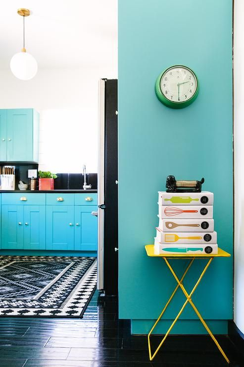 Turquoise Blue KItchen with Yellow Accents