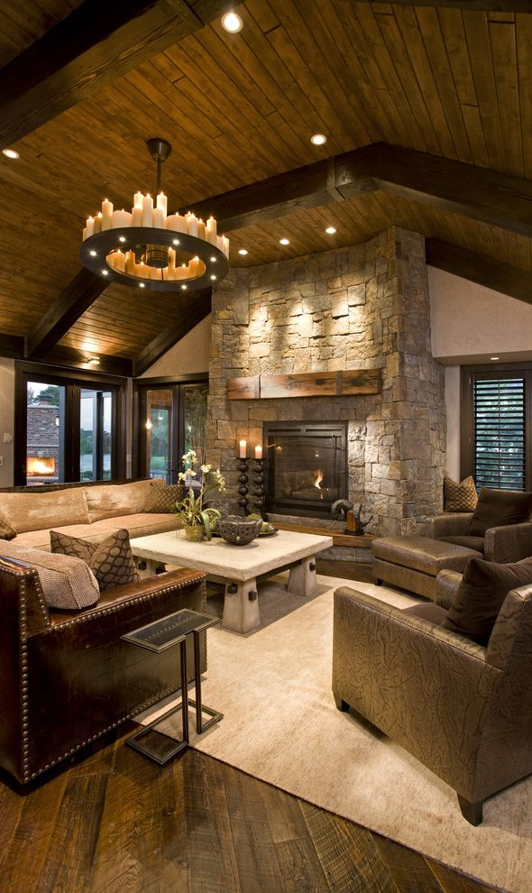 Beautiful rustic living room - I love this one.  Just the right touch of rustic sophistication.