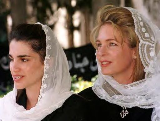 For the dignity Queen Noor displayed after her husband's death, she finally became much beloved by the Jordanian people. Here she is with her successor, Queen Rania.