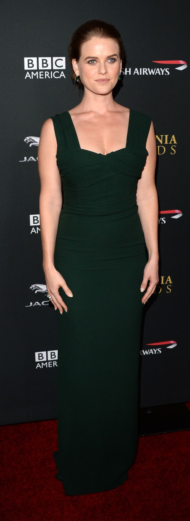 British actress Alice Eve wearing a Burberry dress to attend the BAFTA LA Britannia Awards in Los Angeles