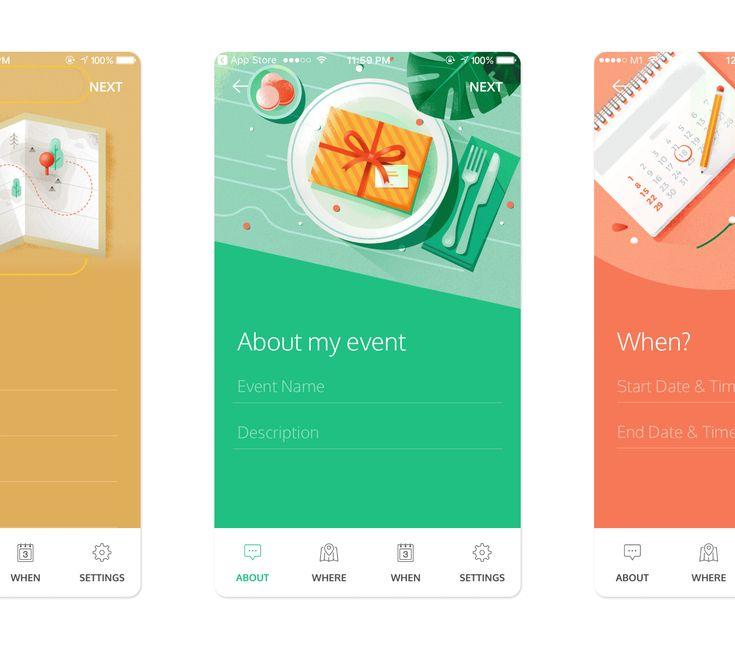 animation Invitation app, App, App design