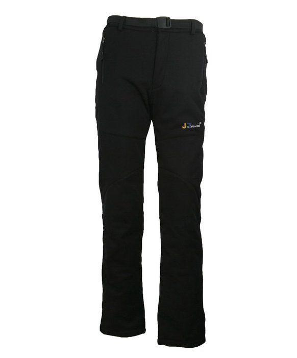 JNTworld women warm wind waterproof hiking pants Trousers breathable Soft Shell, S, Black