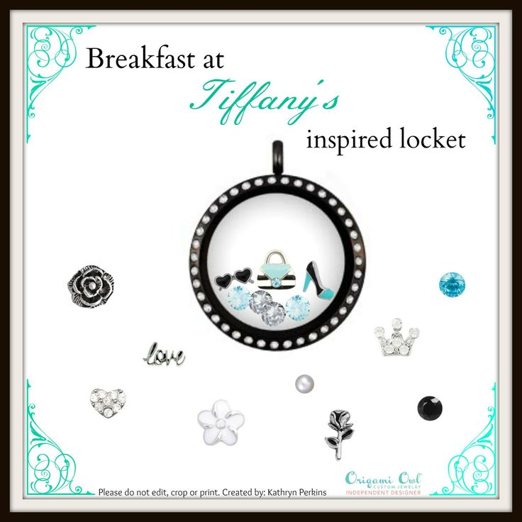 Breakfast at Tiffany's inspired locket from Origami Owl® Custom Jewelry. Create yours @ www.kellib.origamiowl.com  #tiffany #handbag #breakfastattiffanys #tiffanyblue #locket #charms #weddingtheme