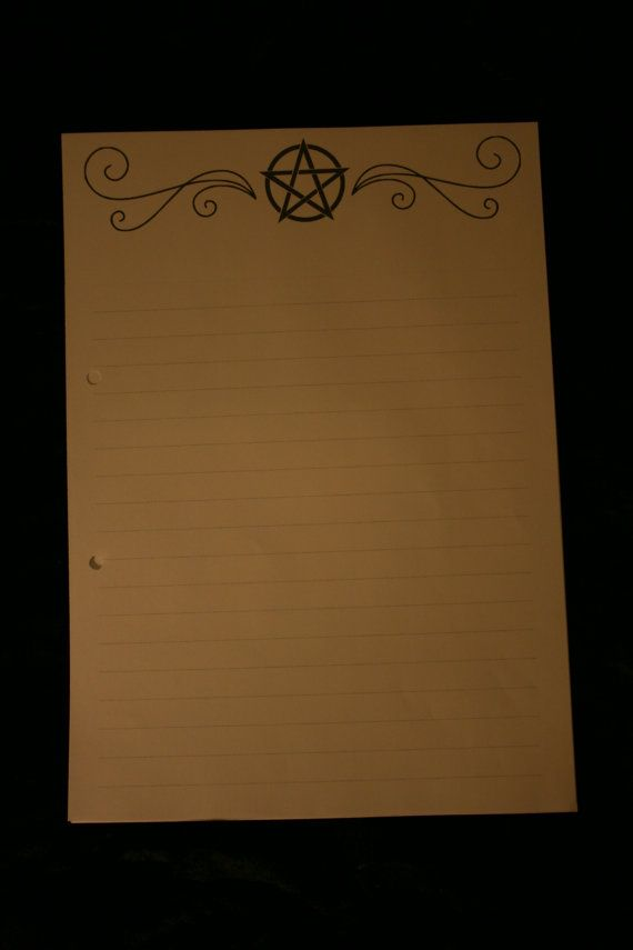 Printed A4 paper for your Book of shadows. Each pack contains