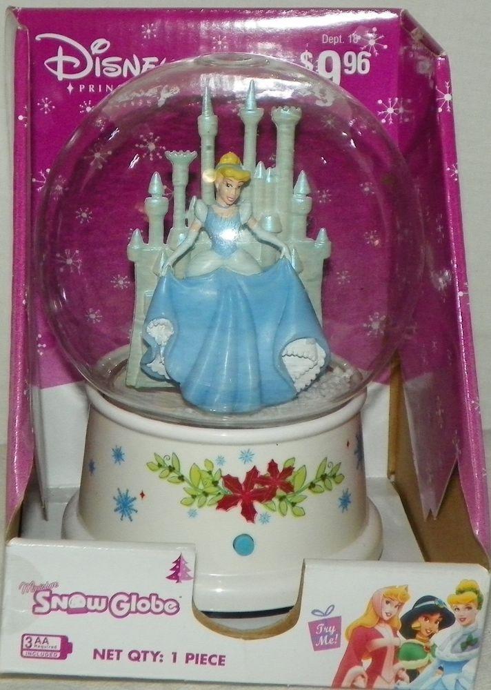 Disney Holiday Cinderella Musical Waterless Wind Up Snow Globe Gemmy NEW #Gemmy