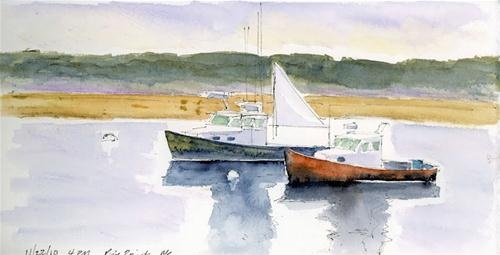 """""""Lobster Boats Pine Point"""" - Original Fine Art for Sale - © Mary Byrom   Maine Paintings ..."""