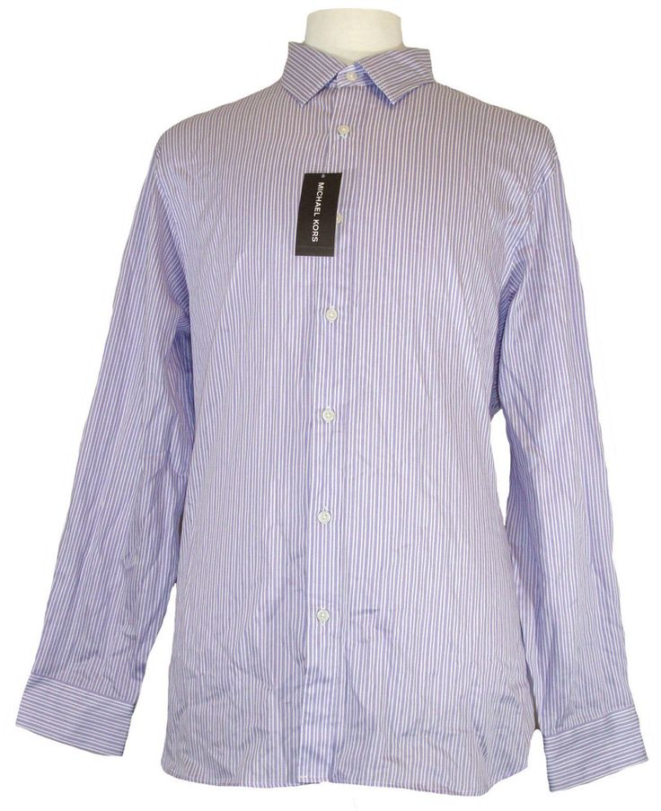 Michael Kors Mens Shirt SYLVAIN Button Down Stripes Purple White XL NEW NWT $195 #MichaelKors #ButtonFront