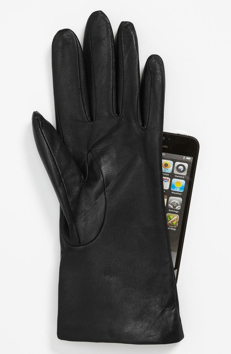 Black leather quilted gloves with cashmere lining - Fownes Brothers Basic Tech Cashmere Lined Leather Gloves Nordstrom