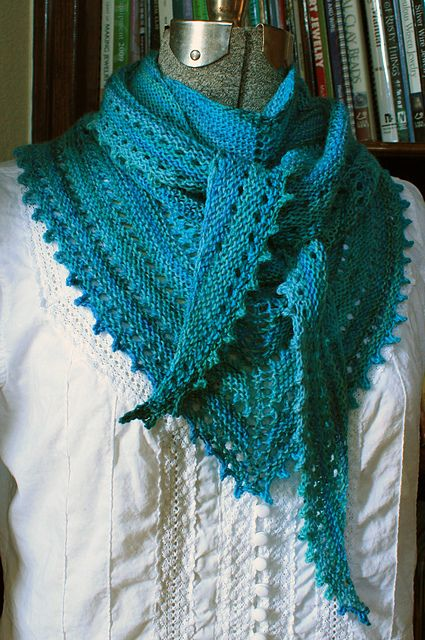 so pretty; FREE pattern via Ravelry 3S Shawl by Amy Meade and knit in a light 3ply fingering yarn