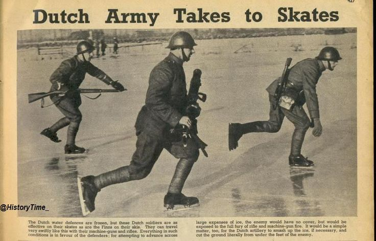 Dutch ice-skating soldiers, 1940.