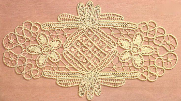 Fiber Art Reflections: Anna Burda January 1990 oval Romanian Point Lace Crochet mat