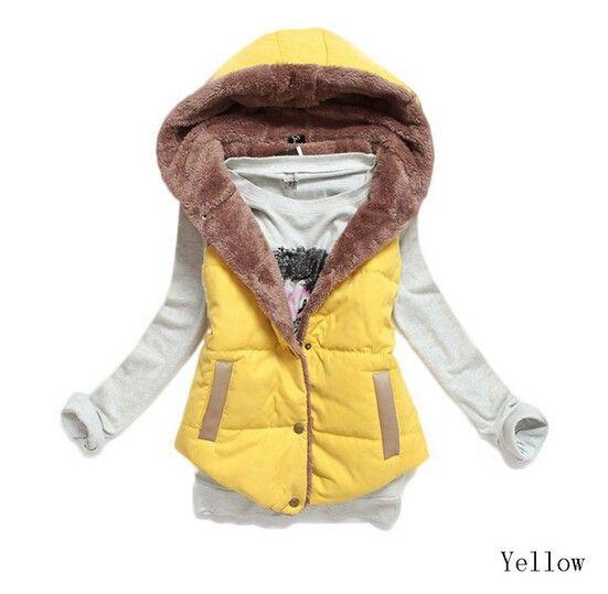 Chaleco con pelo por dentro 22€ color amarillo , también disponible en mas colores, tallas desde la M-XXXL