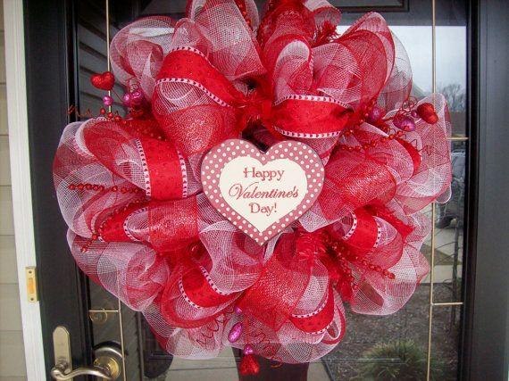 180 best Valentines Mesh Wreaths images on Pinterest   Mesh ...