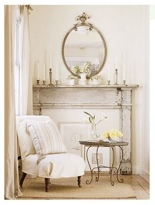 No fireplace ... no problem! Create a focal point with a mantel.