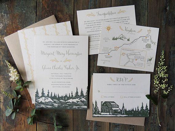 Evergreen wedding invitation suite