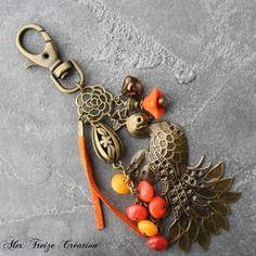 Bijou de sac créateur bronze pendentif paon intercalaires fleur perles esprit vitaminé