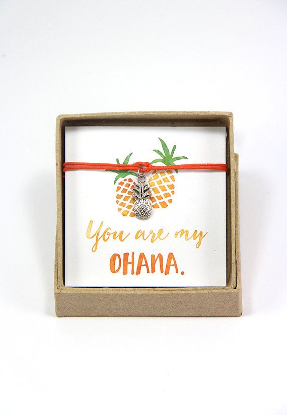 You are my ohana - Pineapple Bracelet, Hawaiian Bracelet, Gift for best friend, Gift for sister, Luau Party Favor, Family Reunion Gift