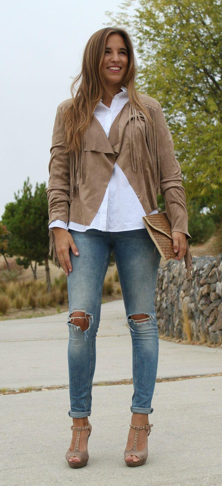La Reina del Low Cost blogger style outfit chaqueta de flecos fringed jacket