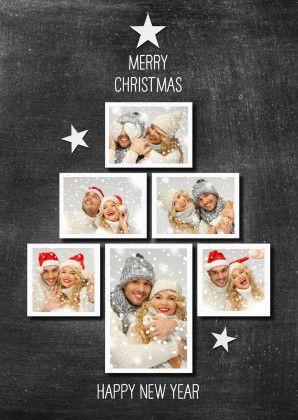 Maak je eigen FOTO KERSTBOOM op krijtbord (print). Vervang de foto's en je hebt zo een super bijzondere kerstkaart. Versier evt met figuren.