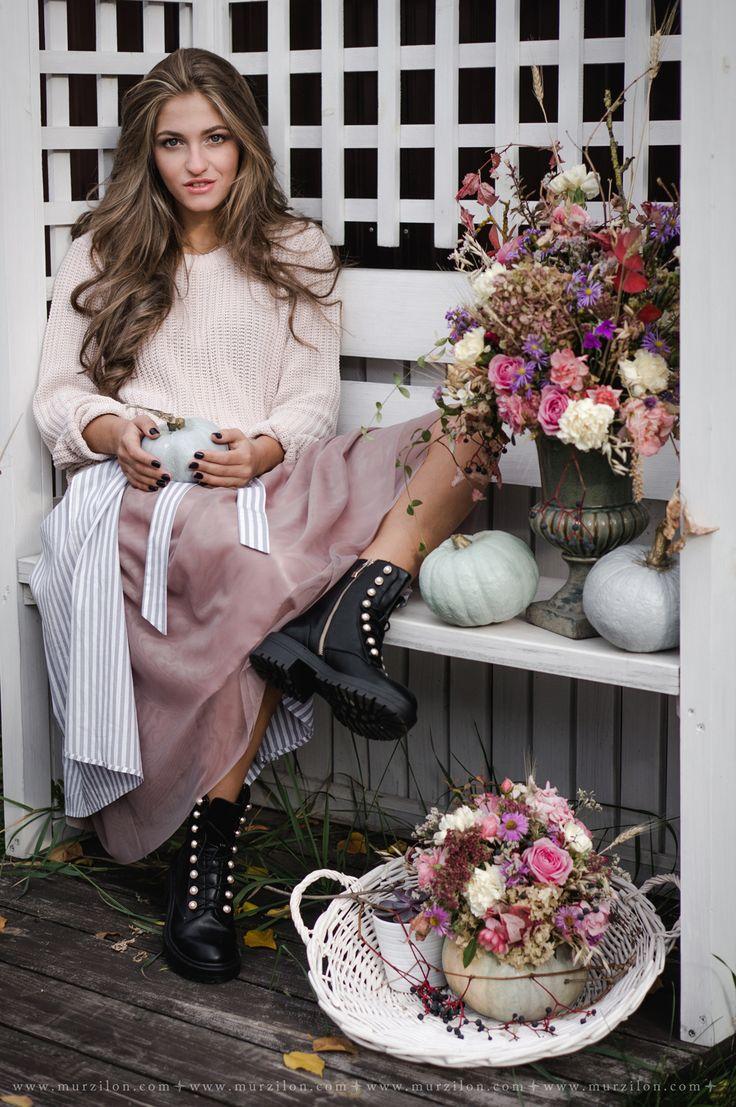 Murzilon: Let's go to the garden!  Girl wearing tulle skirt in the garden. Autumn dusty pink mood.   #pumpkin #dustyrose #flowers #floral #garden #flowerdesign