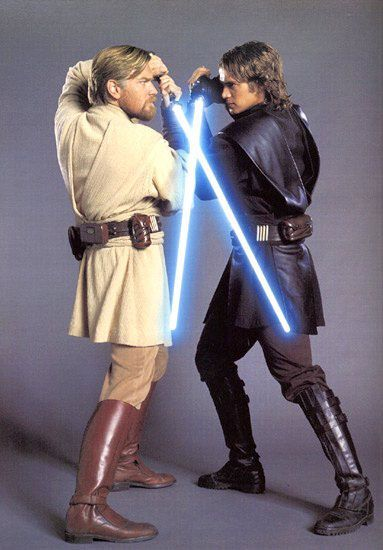 Obi Wan Kenobi and Anakin Skywalker face off in Star Wars Revenge Of The Sith