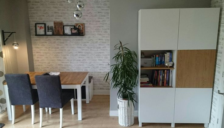 Ikea Besta storage combination, picture ledge, house plant, Kallax bench, repainted Bjursta table and Henriksdal chairs