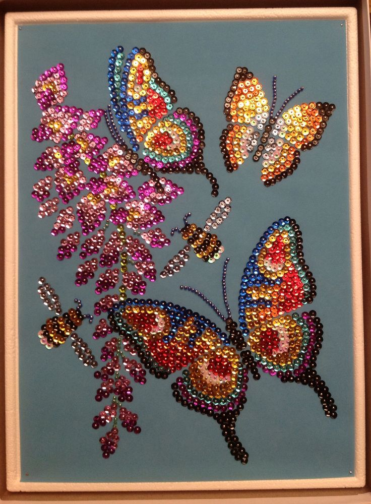 Sequin Art butterflies with beads