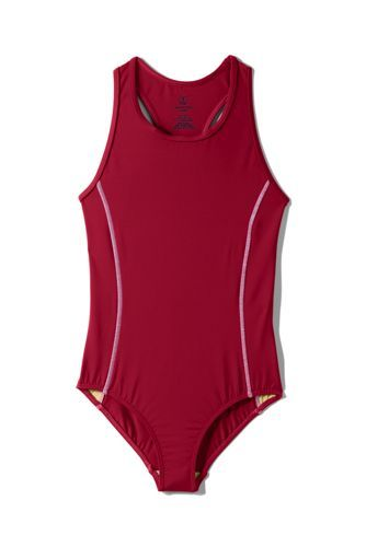 If your girl needs a suit to wear to swim team practice, check out this modest, sporty one piece from Lands' End! Comes in many colors Sizes 7-16
