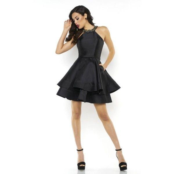 Mac Duggal 65740N Bat Mitzvah Dress Mini Halter Sleeveless ($338) ❤ liked on Polyvore featuring dresses, cocktail dresses, christmas cocktail dresses, white halter top dress, sleeveless dress, mini dress and white dress