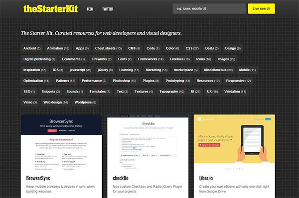 The Starter Kit. Curated resourcers for designers and web developers.