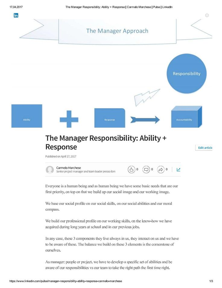 Manager the responsibility steps