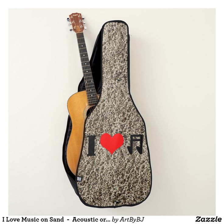 I Love Music on a Coarse Sand Background -  for Acoustic or Electric Guitar Cases