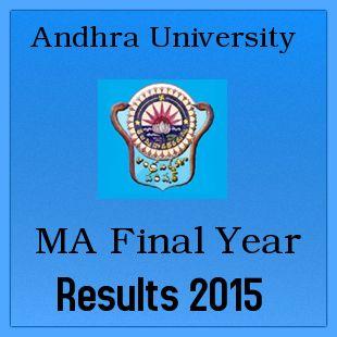 Manabadi AU MA Final Year Results 2015