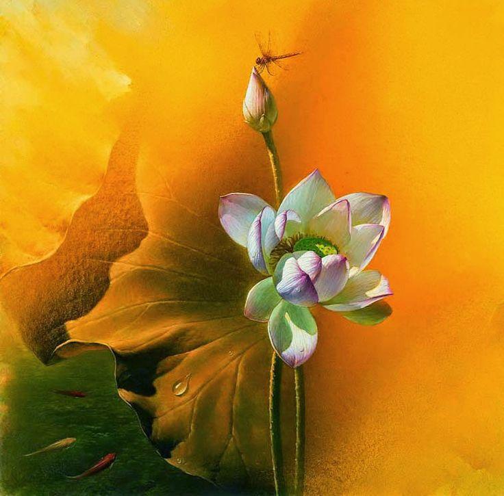 Lotus Paintings by Chinese Artist Jiang Debin