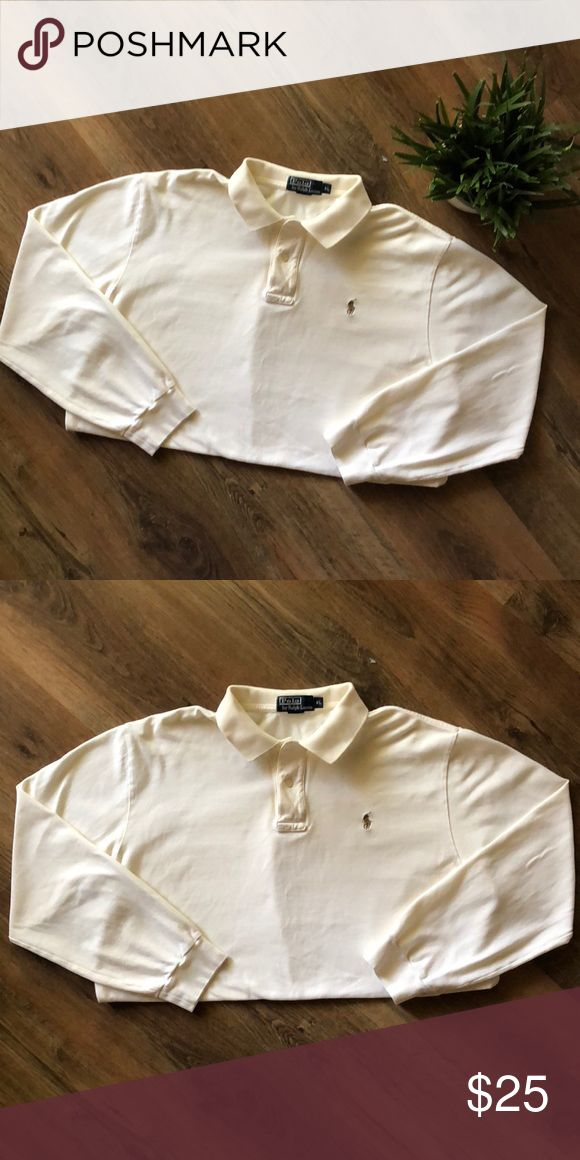 Polo By Ralph Lauren Long Sleeve Shirt Men's Polo By Ralph Lauren Cream Color Excellent Condition XL Polo by Ralph Lauren Shirts Polos