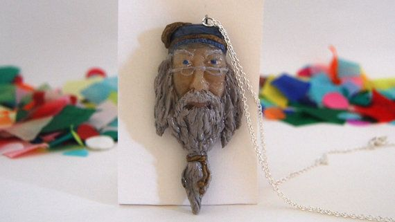 Polymer clay Albus Dumbledore necklace or brooch