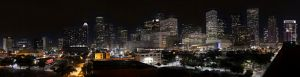 Tundra Garage Night Downtown Houston Skyline 1500 Bell Houston, TX 77002 The Tundra Garage is the adjacent parking facility to the Toyota Center. It is seven stories high and there is a sky bridge. Copyright 2014 Douglas Robertson for Citizen Doug Productions Order a print up to 20 feet wide! See